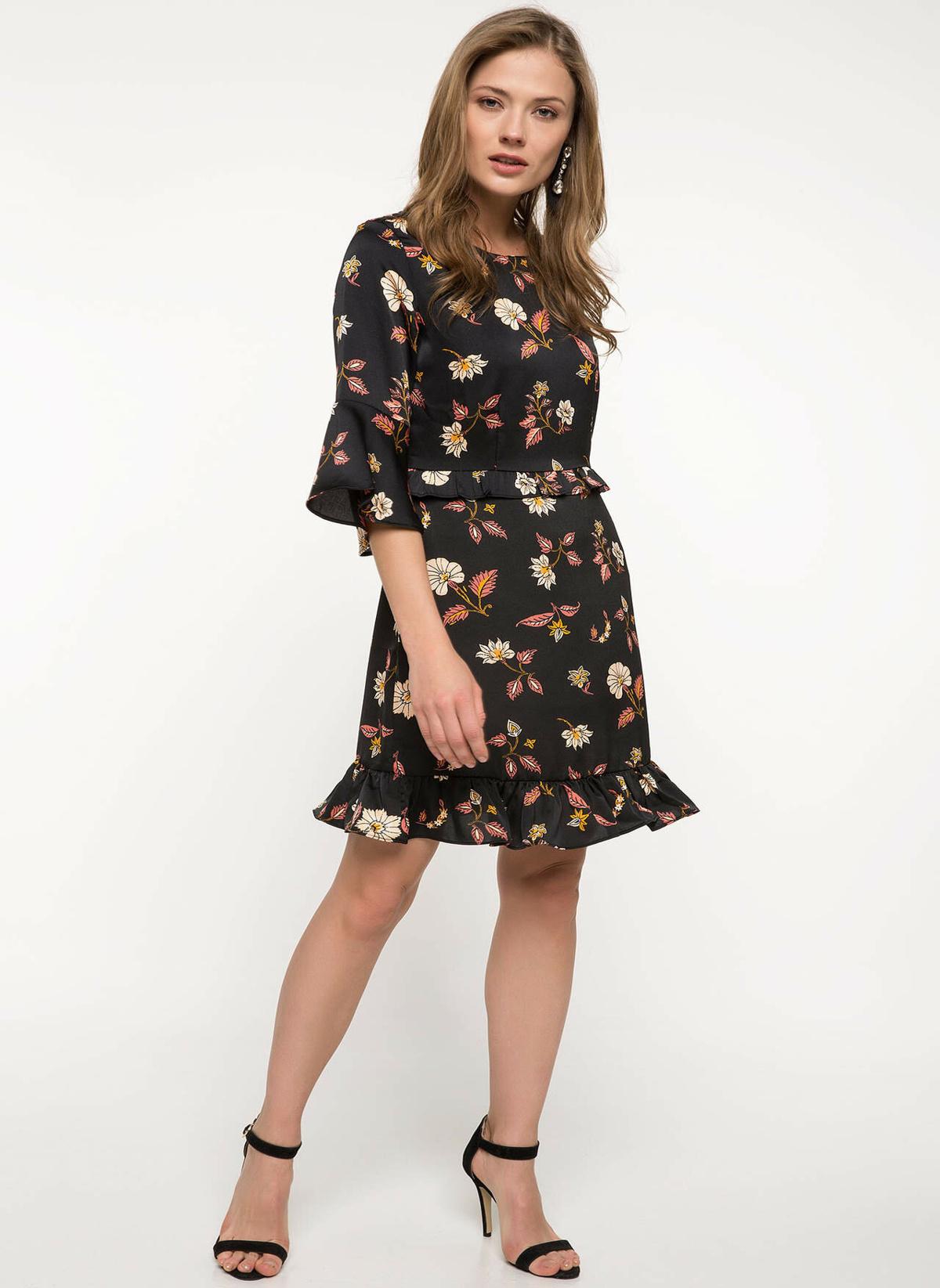Defacto Çiçek Desenli Fırfır Detaylı Elbise I9677az18spbk46elbise – 69.99 TL